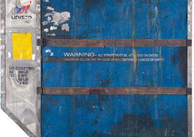 N°1044, CONTAINER UNITED, 2013, 168x200 cm, acrylique, huile, collage et bois sur toile.